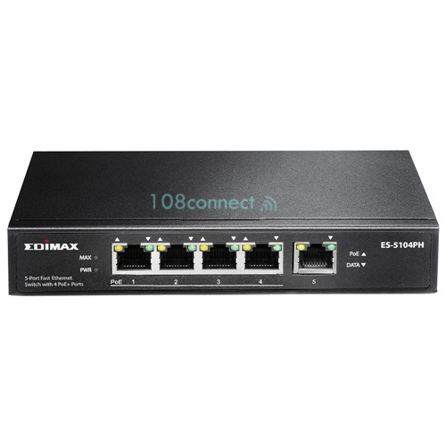 EDIMAX ES-5104PH 5 Port Fast Ethernet Switch with 4 PoE