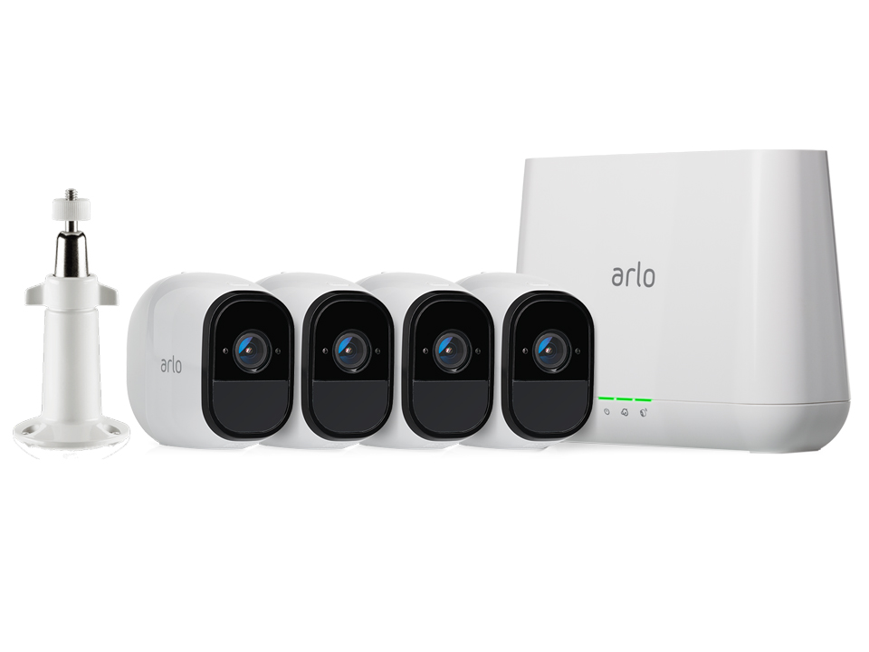 NETGEAR Arlo Pro VMS4430P 4-Camera Security System with Inbuilt Alarm Siren, Rechargeable