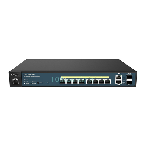 EnGenius EWS5912FP 8-Port Gigabit PoE+ L2 Wireless Management Switch with 2 Gigabit Uplink Ports